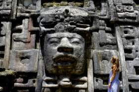 Sofia Yazpik gazes at a monumental Maya lord at Lamanai