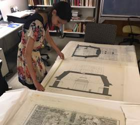 Olivia Armandroff works with Merle Green Robertson drawings of Palenque